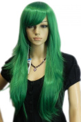 Yazilind Long Straight Green Layered Full Hair Cosplay Anime Costume Wig