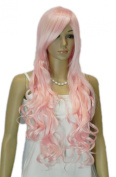 Yazilind Women's Pale Pink Long Curls Curly Wavy Ramp Bangs Heat Resistant Fibre Synthetic Hair Full Cosplay Anime Costume Wig