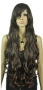 Yazilind Women's Black Brown Extra Long Wavy Curly Natural Looking Synthetic Fibre Cap Full Hair Wig