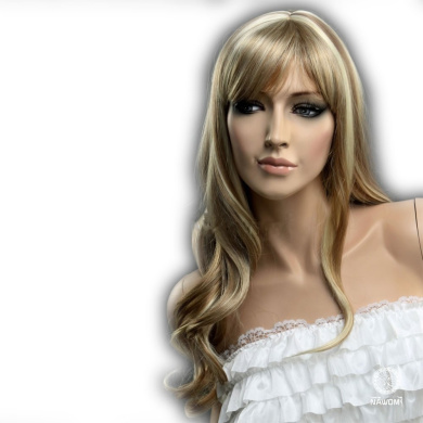 CoolLong Brown And Gold Secondary Colours Curly Big Waves Full fringe bangs hairstyleWith Blonde Highlights soft layered flowing curls Hair Style Women Wig