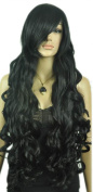 Yazilind Women's Extra Long Dark Black Ramp Bangs Wavy Curly Natural Looking Synthetic Hair Full Wig