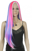 Yazilind Fancy-dress Women's Multicolor Mix Pink Blue White Straight Long Hair Full Cosplay Anime Costume Wig