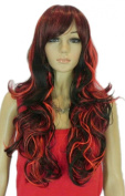 Yazilind Red Black Mix Curly Wavy Full Heat Resistant Fibre Synthetic Long Hair Hairnet Cosplay Anime Costume Wig