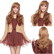 New Womens Fashion Long Curly Full Hair Wigs Cosplay Costume Party Flaxen + Wine Red