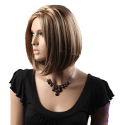 CoolShort Bob Mix Brown And Gold Secondary Colours Natural Straight centre partWith Blonde Highlights Hair Style Women Wig