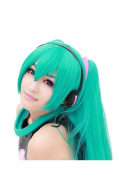 Anangelhair +Free Hair Cap 48inch 120 Cm Miku's Day Vocaloid Hatsune Miku Green Anime Cos Costume Cosplay Wig Hallowmas