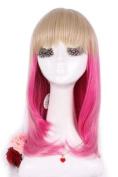 L-email 32cm Mix Zipper Linen/magenta Anime Lolita Cosplay Wig Rw150-b