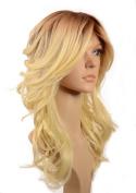Long Bleach Blonde Wavy Wig | Dark Root Effect | Side sweeping fringe | In the style of Nicole Scherzinger