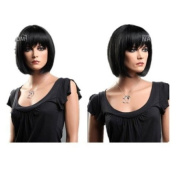 GOOACTION High-end Fashion Short Black Wigs For Women and Ladies Human Hair Wigs Bob Lace Wigs Synthetic Wigs
