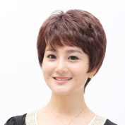 Short Dark Brown Fluffy Slight Curl Wavy Wig Middle Age Women Wig Mother Wig Office Lady OL Wig 100% Human Hair Wig