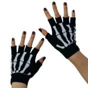 New Black Punk Gothic Dark Rock White Skeleton Hand Warmer Half Finger Gloves