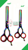 ZZZRT ZH-2222 Japanese Steel Professional Razor Edge Titanium Barber Hairdressing 29-Teeth Thinning, blending, layering and texturizing Scissor/ Shear Set 14cm & 11cm + Free Covers
