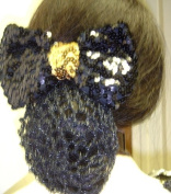 Sn31, Hand Crocheted Black Metallic Gimp Dress Snood with Gold Sequin Wrap Black Sequin Bow for Women and Teens