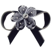 Tarina Tarantino - Fashion Couture - Iconic Collection. Crystal Zipper Bow Anywhere Hair Clip w/Lace-Covered Felt Flower - Silver #AC07S9-709