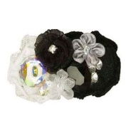 Tarina Tarantino - Fashion Couture - Iconic Collection. Crystal Linen & Organza Flower Collage Hairclip - Black #HC03S7-1