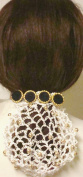 Hand Crocheted Ivory Gimp Dress Snood with Gold Pearls on Gold and Black Braid Buttons French Barrette Hair Clip