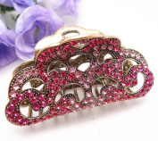 Fit long Hair New Vintage Hot pink colour. Crystal Retro Copper Hair Claw Clip 812