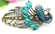 Oyang Lovely Vintage Jewellery Crystal Green Peacock Hair Clips - for hair clip Beauty Tools