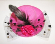 Pretty mini hat style clip with feather --- Rose Pink By Pixiheart