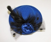 Pretty mini hat style clip with feather --- Royal Blue By Pixiheart