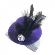 Cocktail Party Black Mesh Net Feather Purple Top Hat Hairclip Fascinator
