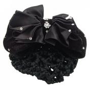 Woman Black Rhinestone Flower Hair Clip Snood Net Barrette