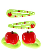 Apple Of My Eye Snap Clip and Hair Tie Set