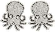 Sourpuss Glitter Octopus Hair Clips Silver