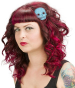 Sourpuss Glitter Skull Hair Clips Aqua