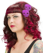 Sourpuss Glitter Skull Hair Clips Purple