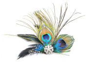 Peacock Feather Hair Clip/Fascinator with Rhinestones