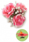Hawaiian Hair Clip Silk Flower Maui Triple Tea Pink