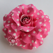 Sara Monica Artisan Collection: Flower Hair Clip and Brooch Pin: Cotton, Polka Dot Rose