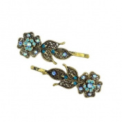 Antique Brass Hair Clips w/ Rhinestone Flower [Pair]