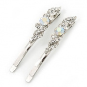 Pair Of Clear/ AB Crystal Bridal Hair Slides In Rhodium Plating - 60mm Length