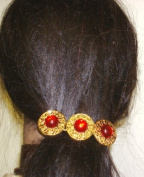 Three Red Pearl Gold Buttons on French Barrette Hair Clip for Women and Teens