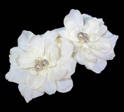 Pair of Ivory White Delphinium Flower Hair Clip with Crystals