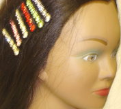 Set of Six Multi Colour and Sparkling Crystals Hair Clips for
