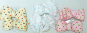 Sj.156, Set of Six Multicolor Polka Dot Ribbon Hair Bow Clip on French Barrette for Teens and Young Girls