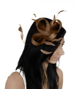 Hats By Cressida Gorgeous Four Loops and Feathers Ascot Fascinator Hat - With Headband/Aliceband or Comb