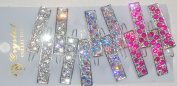 S822 Set of Six Multicolor Sparkling Crystals and Rhinestone Hair Pins for Women and Teens
