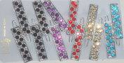 Set of Six Multicolor Sparkling Crystals and Rhinestone Hair Pins for Women and Teens