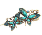 . Lovely Vintage Jewellery Crystal Butterfly Bowknot Hairpins Hair stick for hair Beauty Tools-Blue