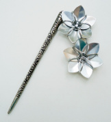 Antique Silver Metal Hair Stick with Two Silver Flowers