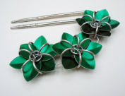 Hair Fork / Double Hair Stick - Three Emerald Green Flowers