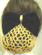 Sn72, Hand Crocheted Metallic Gold Gimp Dress Snood with Black Velvet Bow for Women and Teens