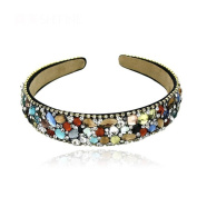 Rainbow crystal rhinestones ribbon fabrics hair accessories hairband headdress headband