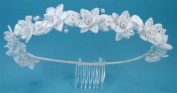 Wreath of satin floral with floating pearl accent #836C0