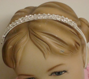 Genuine Sterling Silver Plated with Sparkling Rhinestone Crystals Loaded Headband for Christening Prom Communion