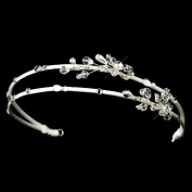 Agnes Double Row Side Crystal Accented Wedding Bridal Tiara Headband